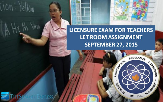 List of Room Assignment September 2015 LET Metro Manila (NCR)