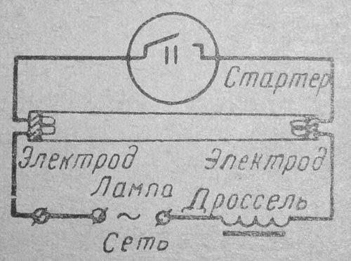 Схема включения люминесцентной