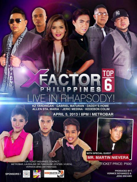 The X Factor Philippines Top 6 KZ, Gab, Daddy's Home, Allen, Jeric and Kedebon live in concert at Metrobar, April 5