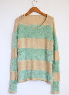 Fuzzy Mint Stripped Sweater