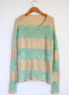 Fuzzy Mint Stripped Sweater