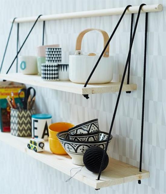 estante de cordas, rope shelving, prateleiras, organizar, shelves