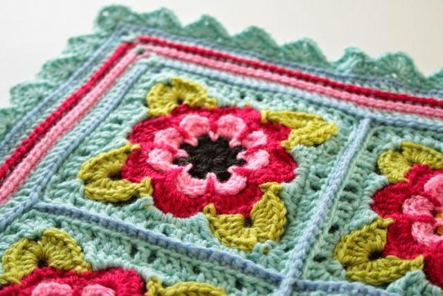 Free Crochet Rose Blanket Pattern : Painted Roses Blanket