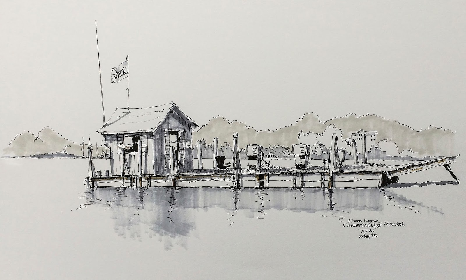 Urban sketchers midwest gas dock end of the season boats are coming out of the water for the cold months ahead and white lake is settling down for fall for those of us who sail its a sad time of year freerunsca Gallery