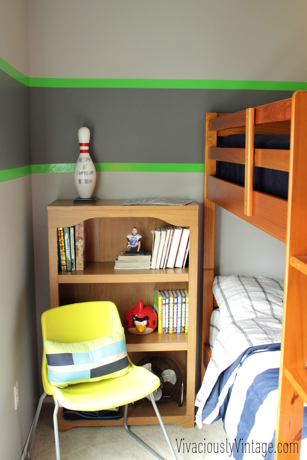 Ansley Designs: Striped Grey & Seahawks Duck Tape Boy\'s Bedroom