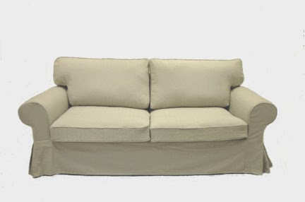 Knesting Ektorp sofa bed slipcover in Oatmeal Linen