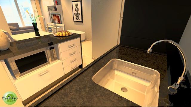 Projeto de Sala e Cozinha Integradas e Planejadas