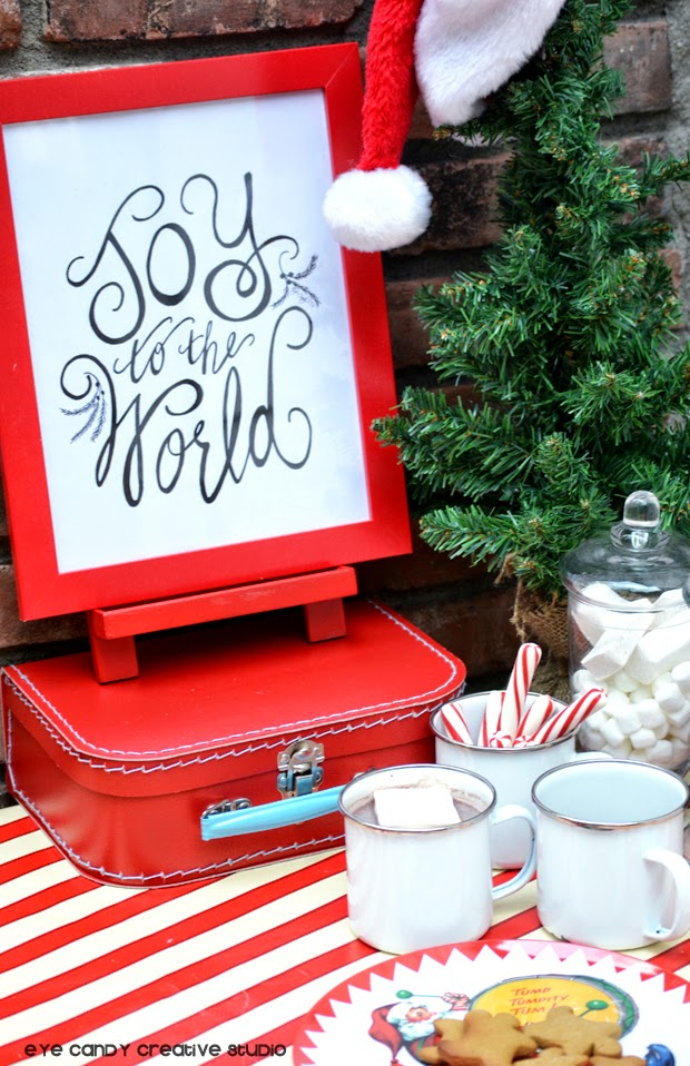 christmas decor, joy to the world, hand lettered print, pen and ink