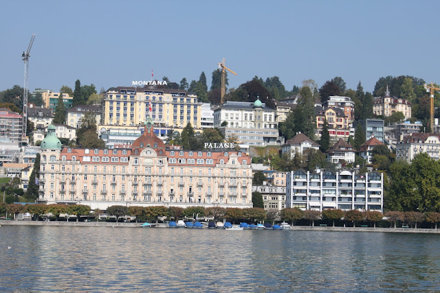 Expensive hotels are situated along Lake Lucerne in Lucerne, Switzerland