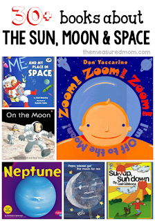 http://www.themeasuredmom.com/30-fabulous-books-to-read-for-a-space-theme/