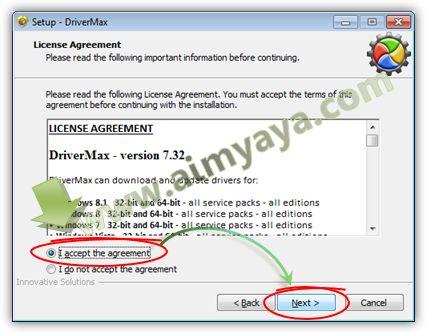 Gambar: Menyetujui lisensi aplikasi DriverMax
