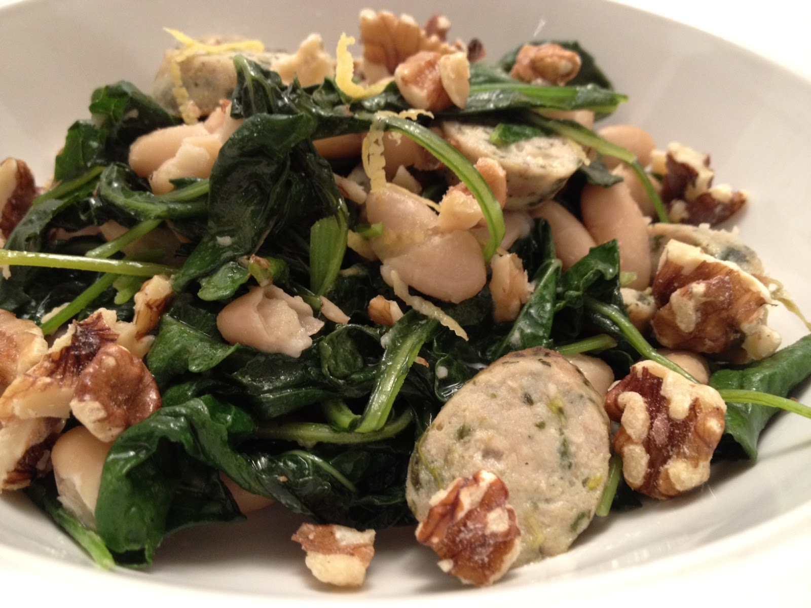 The Full Plate Blog: lemony kale, sausage and white beans
