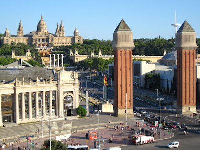 Venetian towers and Catalonia National Palace in Montjuïc