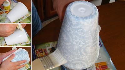 Como decorar vaso de barro com tecido