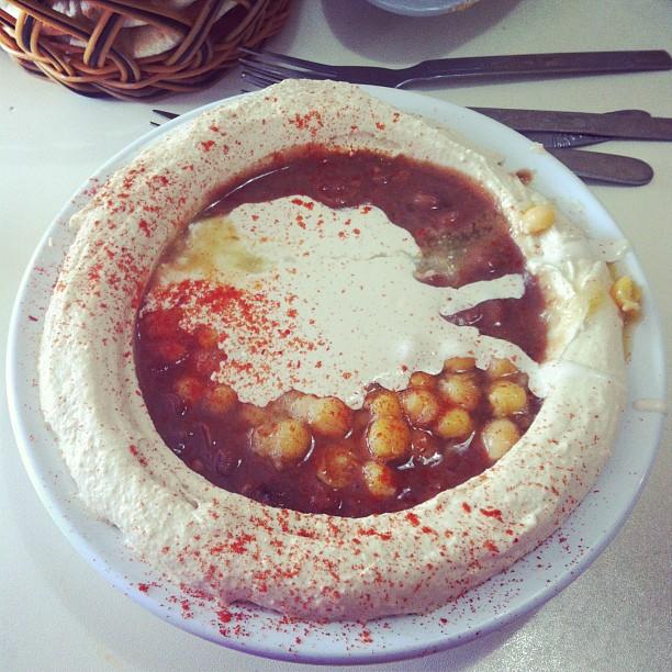 fava beans,hummus,chickpeas,olive oil, paprika,tahini