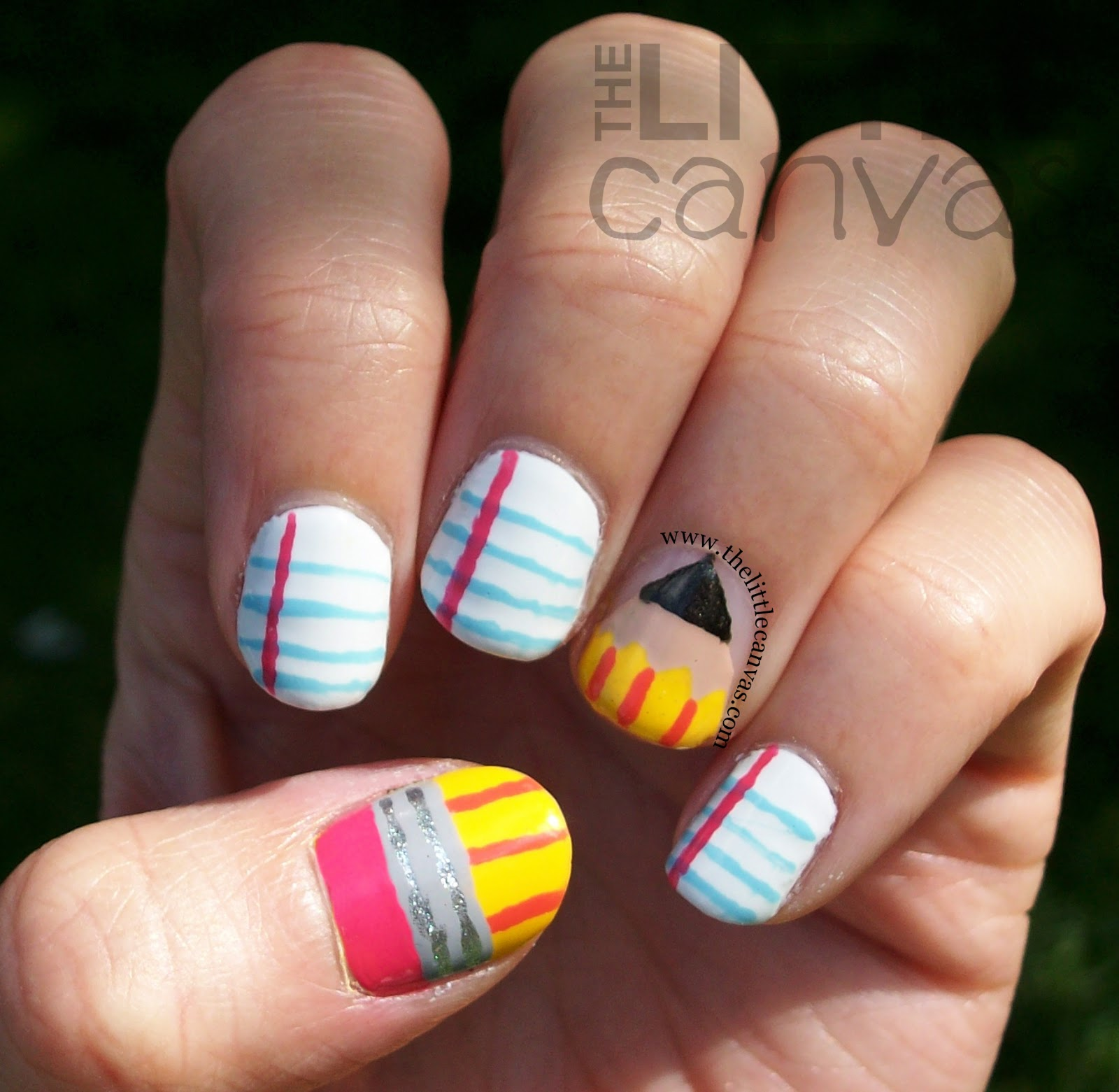 Back to school nail art tutorial the little canvas enough of my babbling lets take a look and ill tell you how i created this cute little design prinsesfo Gallery