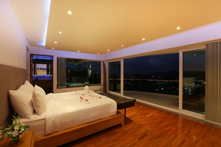 Bedroom at night in Modern Villa Beyond in Phuket