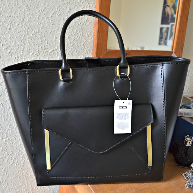 ASOS black leather shopper bag