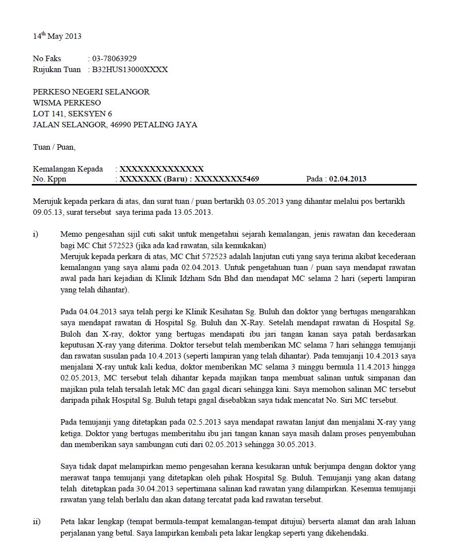 Surat Rasmi Kepada Perkeso Kebaya Mude