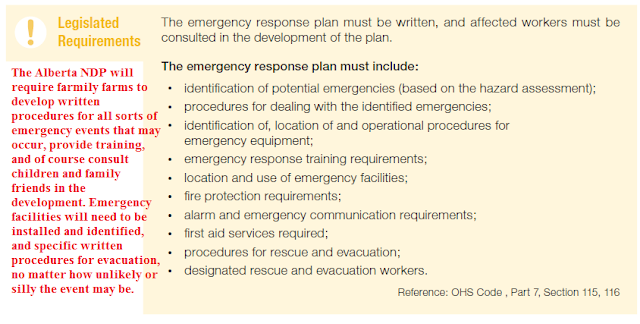 The Alberta NDP will require family farms to develop written procedures for all sorts of emergency events that may occur, provide training, and of course consult children and family friends in the development. Emergency facilities will need to be installed and identified, and specific written procedures for evacuation, no matter how unlikely or silly the event may be.