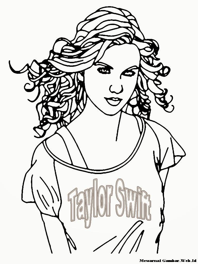 Mewarnai Gambar Taylor Swift