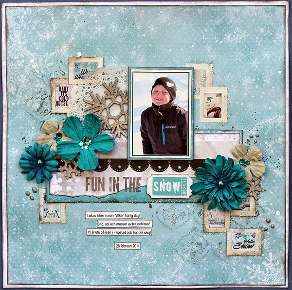 Fun In The Snow Scrapbook Page by Ulrika Wandler using BoBunny Altitude Collection