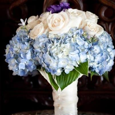 Combination Of Blue Hydrangea And White Rose Wedding Bouquet