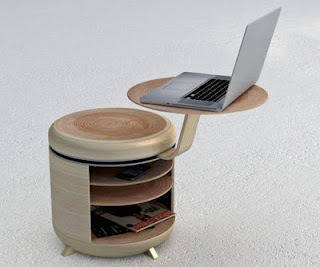 ahsap laptop sehpasi tasarimi Ahşap Yuvarlak Laptop Sehpa Modeli