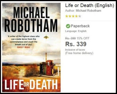 Life or Death (English) Novel Worth Rs.399 For Rs.339 Only.