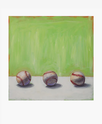 gouache painting of three baseballs