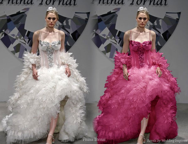 Pink Wedding Dress Feathers : Pnina tornai feather wedding dress