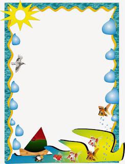 Caratula para cuadernos de niños de kinder - Borde Mar