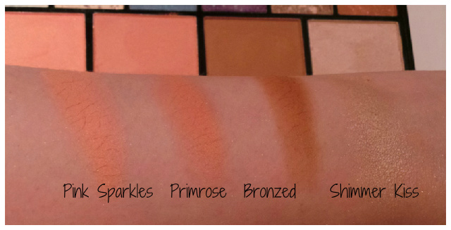 Blush swatches of MUA The Artiste Collection Multi-use Palette