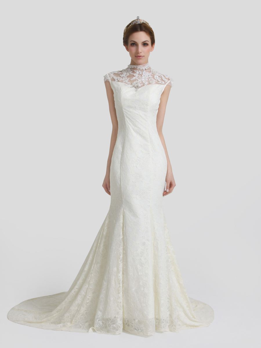 Blog for dress shopping 2014 new trend high neck wedding for High collared wedding dress