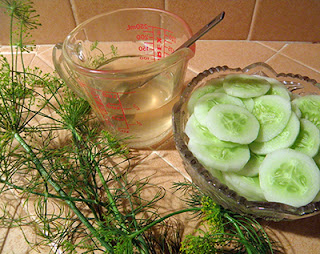Cup of Salted Vinegar, Bowl of Sliced Cukes, Big Sprig of Dill