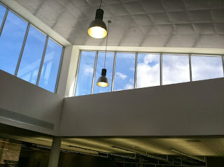 clerestory windows with drifting clouds
