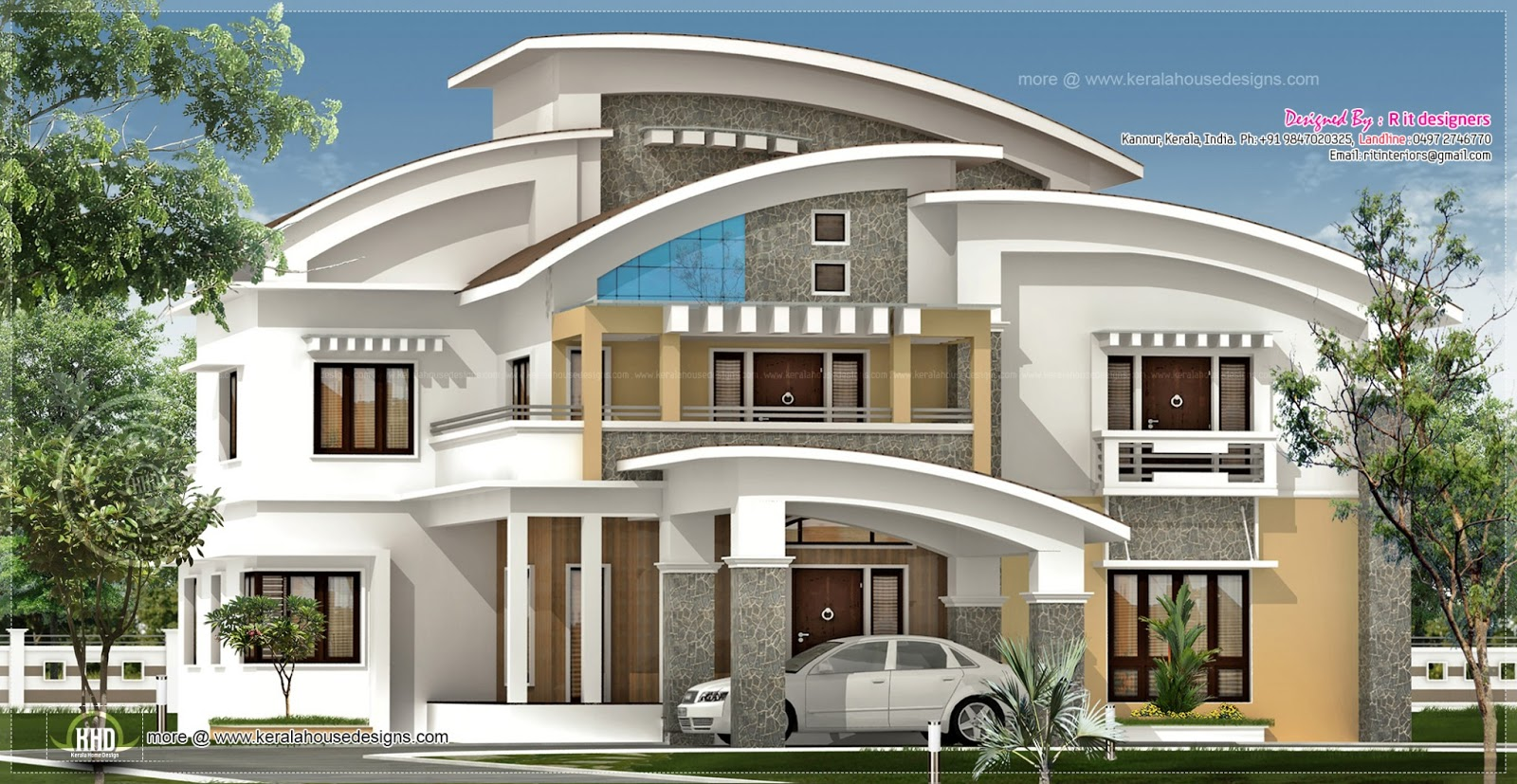 3750 square feet luxury villa exterior kerala home for Exterior villa design photo gallery