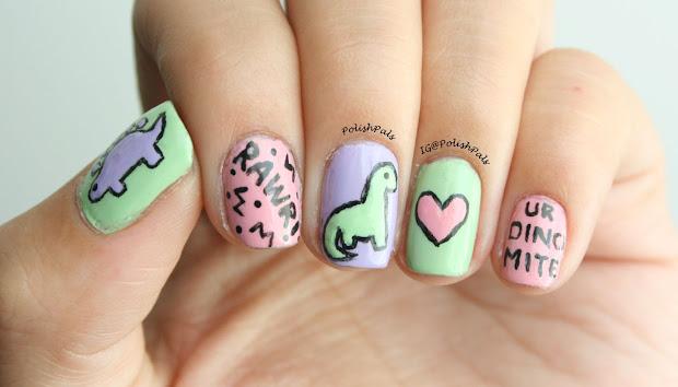 polish pals pastel dinosaur nails