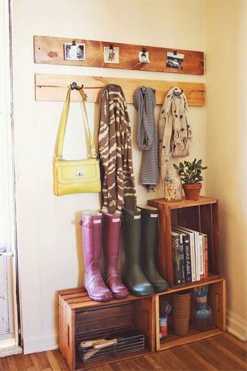 Diy coat rack and crates idea