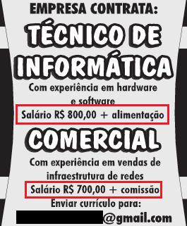 cotratacao area informatica baixo salario