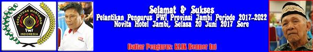Pelantikan Pengurus PWI Provinsi Jambi Periode 2017-2022