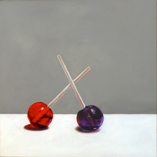 Suckers painting, lollipop art, original still life realism jeanne vadeboncoeur