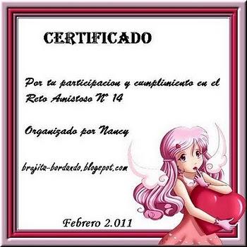 CERTIFICADO POR CUMPLIR EL RETO NRO. 14 ORGANIZADO POR NANCY ELIZABETH