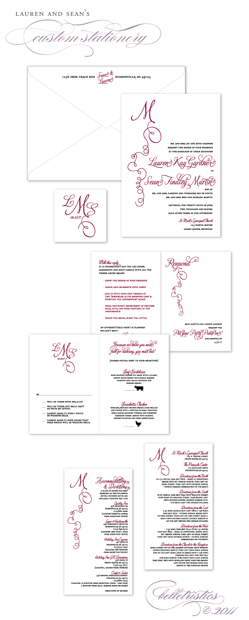 custom calligraphy inspired monogram themed diy wedding invitation suite