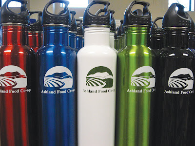 Ashland Food Co-op labeled Klean Kanteen refillable water bottles