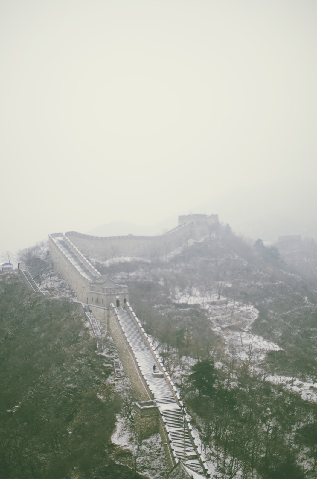 the great wall of china, snow, photography