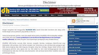 Tentang Syarat dan Ketentuan, Sangkalan di Situs NGABIDIN WEB