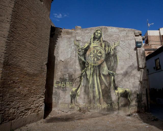 Street Art By South African Muralist Faith47 For Avant Garde Urban In Tudela, Spain.