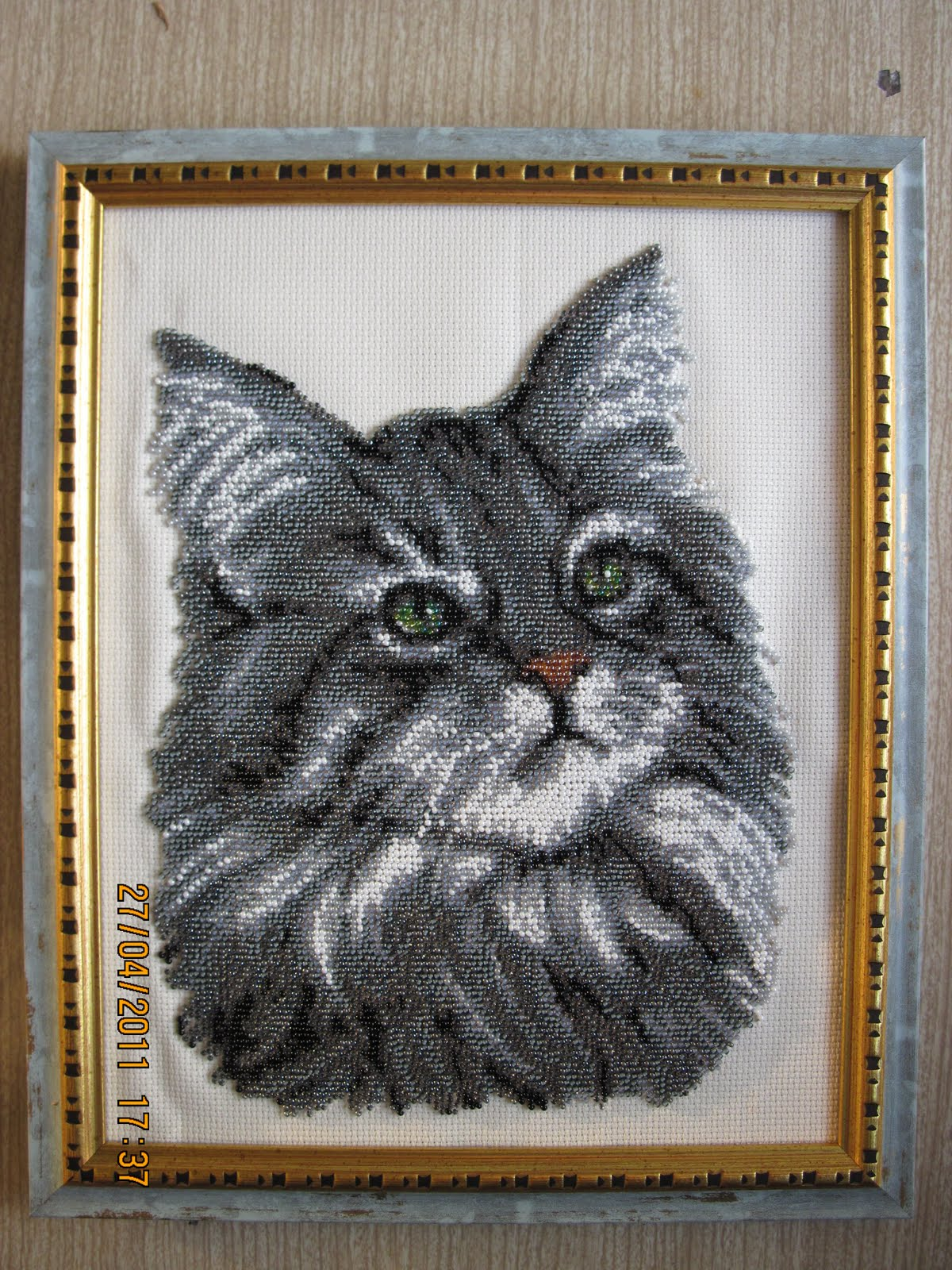 Вышивка бисером кота 45