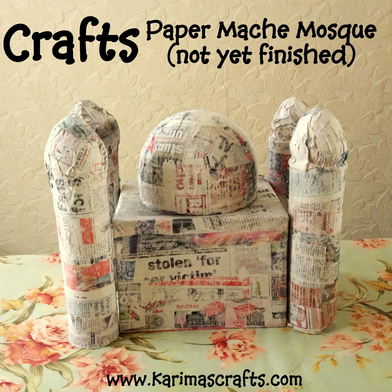 Karima 39 s crafts paper mache mosque tutorial 30 days of for How do you make paper mache glue at home